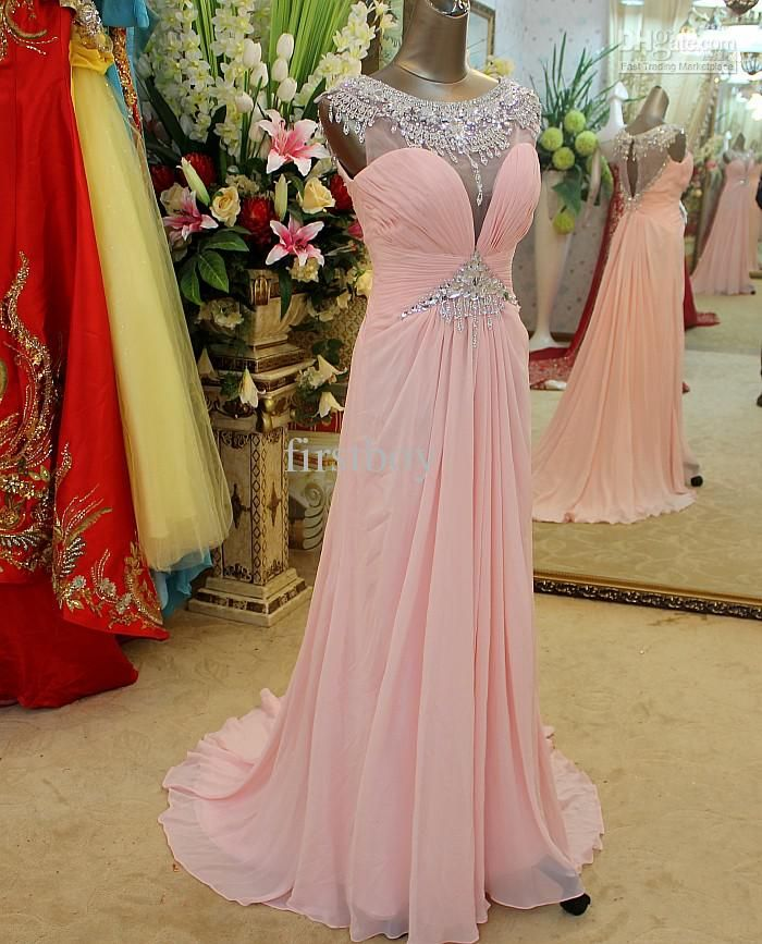 Wholesale Sexy Cap Sleeves Evening dress Crystals pink Evening Party Gowns Prom Dresses New 2013, Free shipping, $159.09/Piece   DHgate