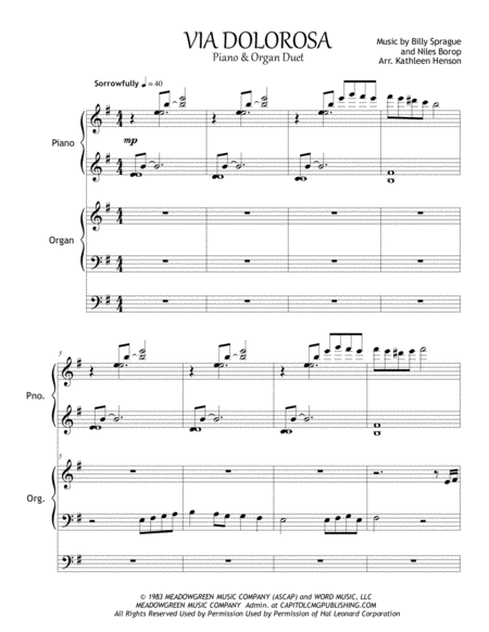 Via Dolorosa Music Sheet Pdf Download