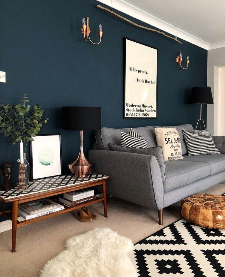Dark Wall Copper Lights Lounge Inspo Living Room Grey Small Apartment Living Room Apartment Living Room