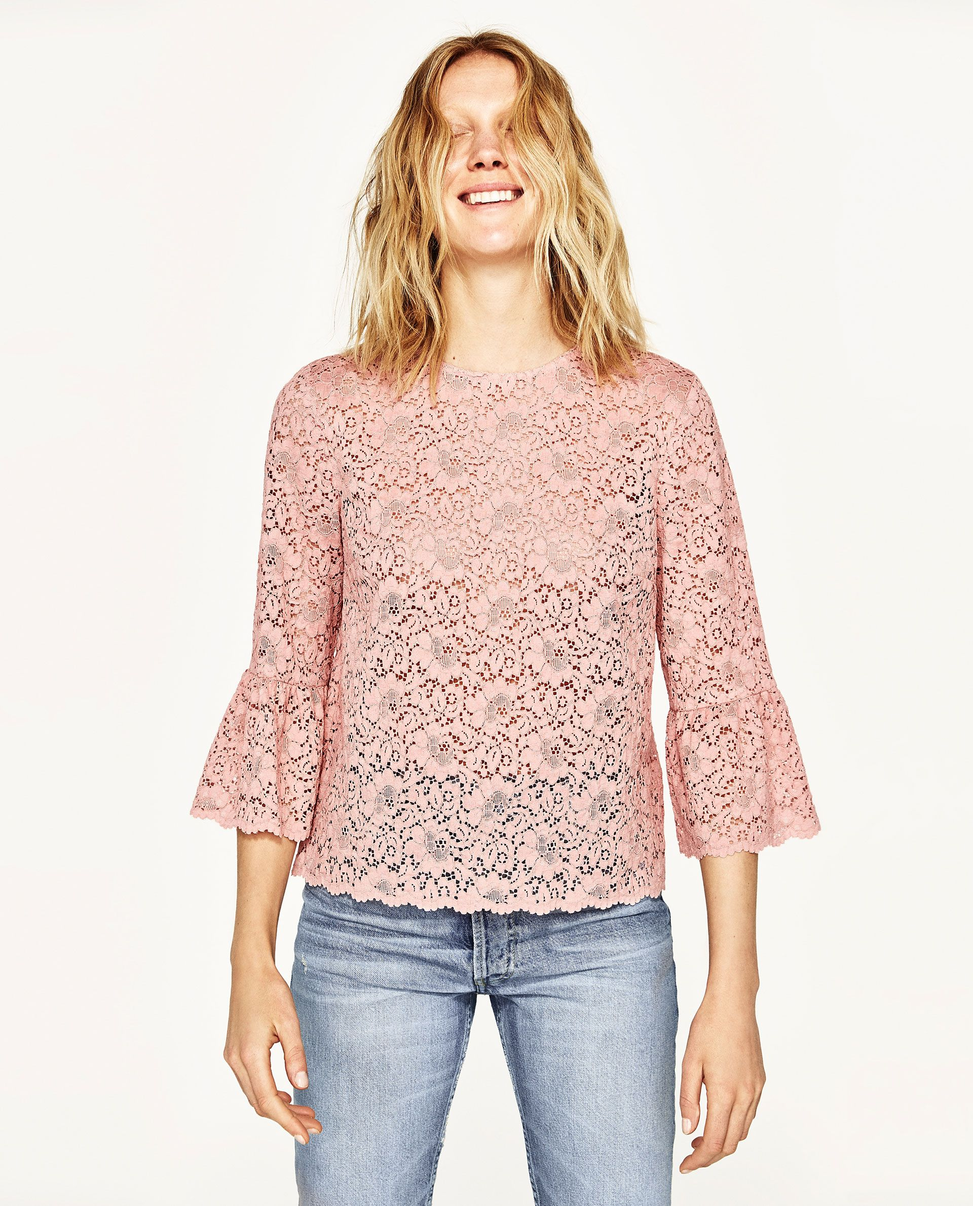 cb4e1aa51cdc3 ZARA PINK LACE TOP WITH FRILLED SLEEVES