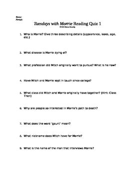 Tuesdays with Morrie Reading Quiz 1 (early in the book ...