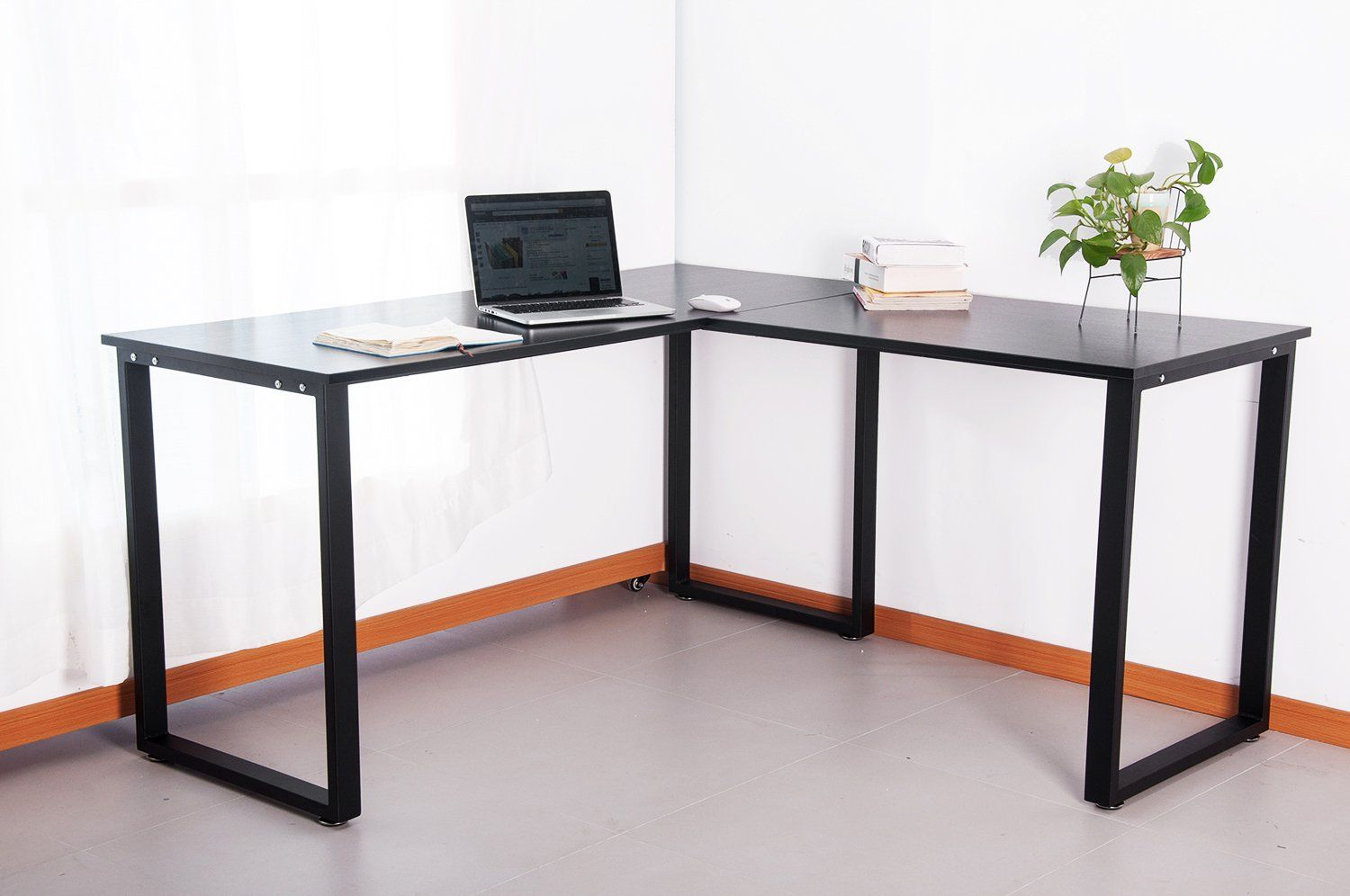 furniture return and track with desk ionic legs global metal table office on