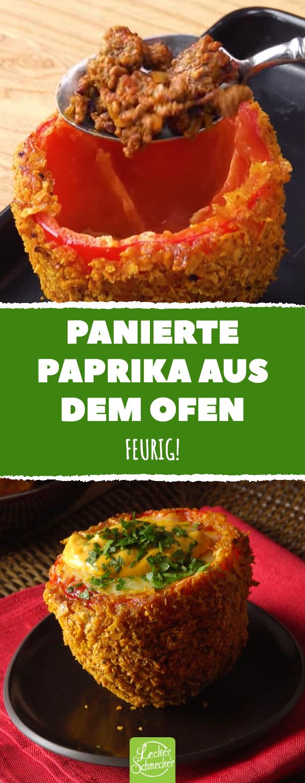 Panierte Paprika aus dem Ofen