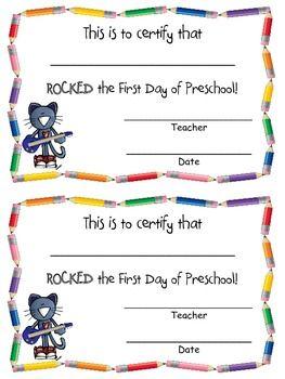 Rocking The First Day Of Prek Kindergarten Certificate Freebie