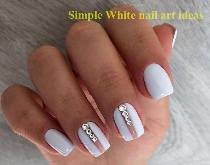30 Simple Trending White Nail Design Ideas 1 Nailideas Nailart In 2020 White Gel Nails Elegant Nail Designs White Nail Designs