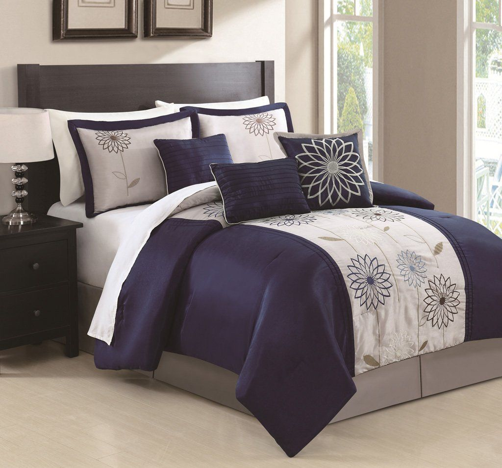 Navy Blue and White Bedding 11Piece Embroidered Feminine Navy