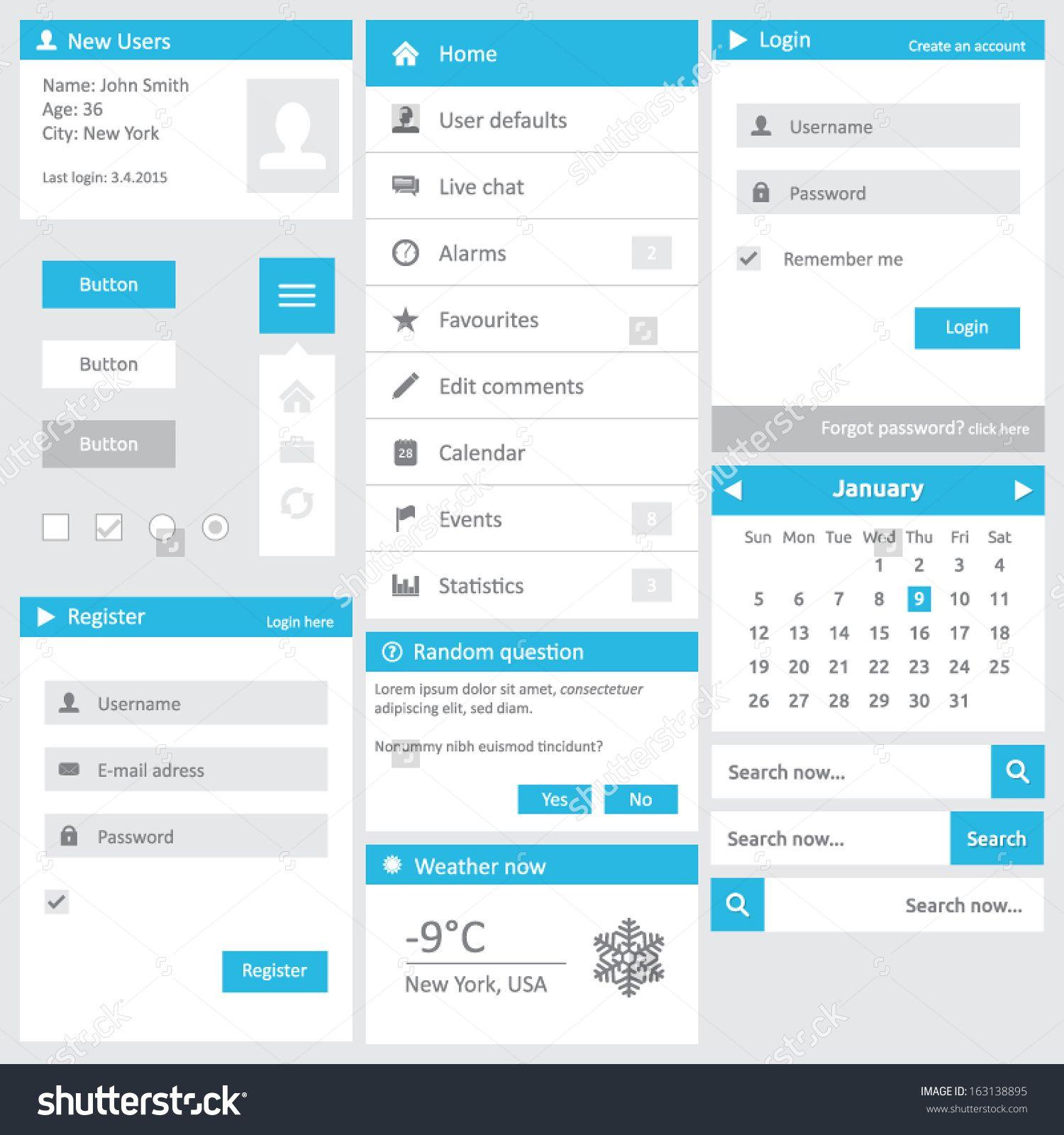 stock vector website template flat design elements with login