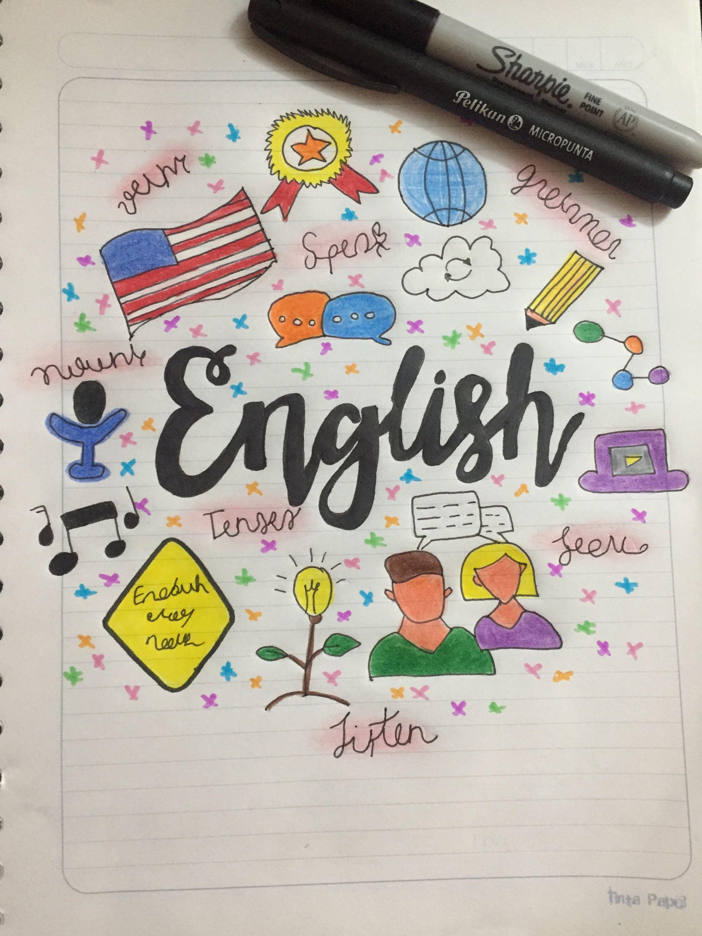 Portada De English Caratulas Para Cuadernos Escolares