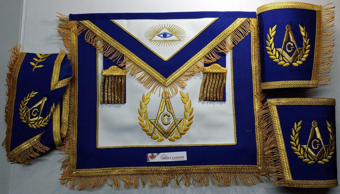 Masonic Blue Lodge Past Master Apron with Fringe Set Apron,Collar