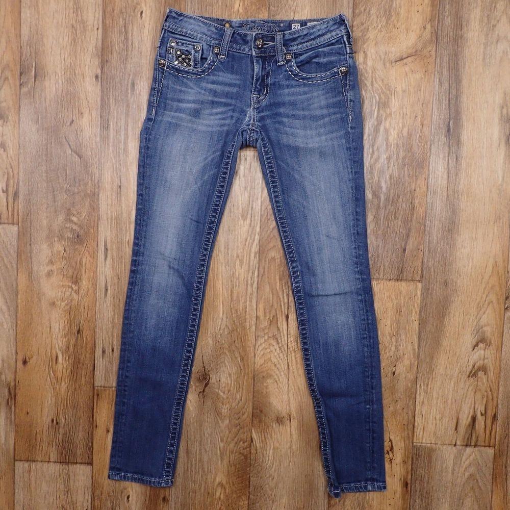 11d0354bc3b Miss Me Women s Distressed Skinny Blue Jeans Rhinestone Size… ebay   pinterest  hotjeans  tightjeans  fashionjeans  hotpants  favoritejeans