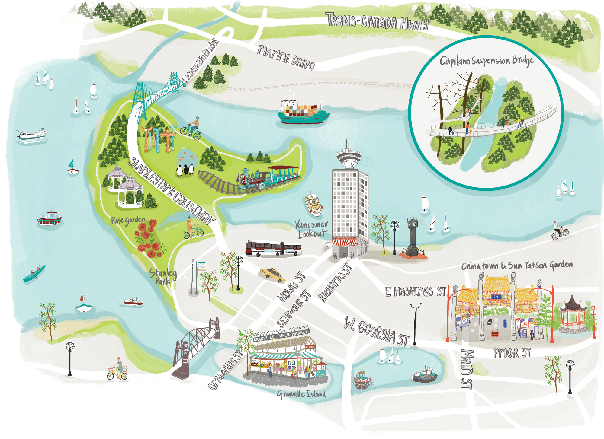 Illustrated Map Of Vancouver By Naomi Skinner Wanderlust