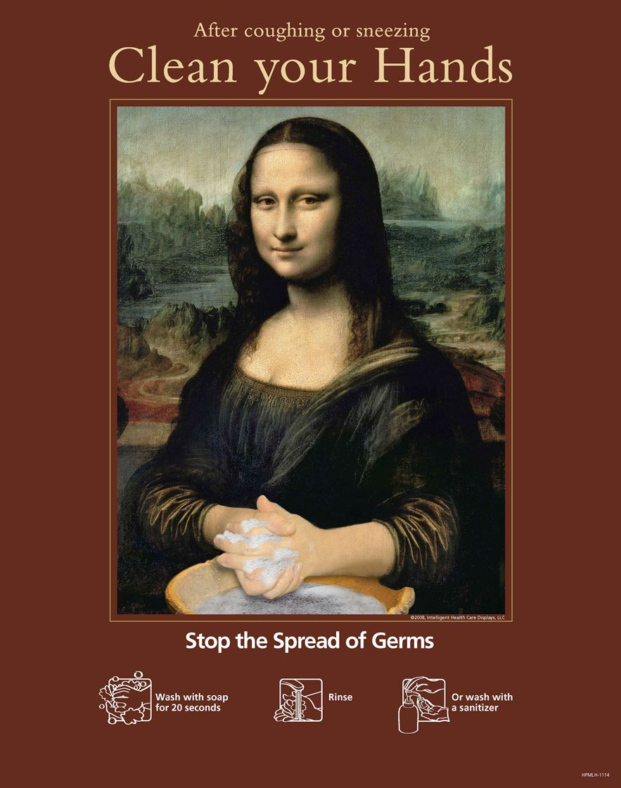 Clean Your Hands Mona Lisa Poster Ihd S Play On This Famous