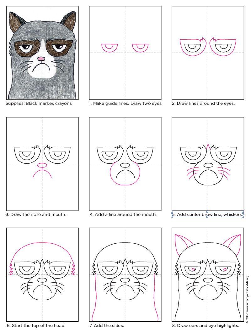 How to Draw Grumpy Cat | APFK Drawings | Pinterest | Grumpy cat, Cat ...