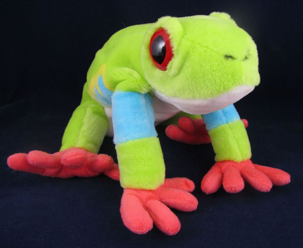 2005 Wild Republic K & M Green Stuffed Plush Frog EUC Red Eyed Soft Animal #WildRepublic