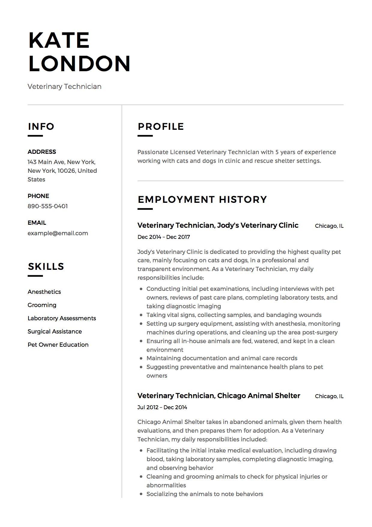 Veterinary Technician Resume Sample, Template, Example, CV