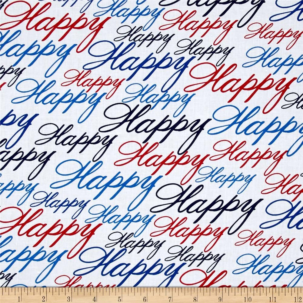 Kanvas All American Happy Red/White/Blue from @fabricdotcom  Designed by Maria Kalinowski for Benartex, this fabric is perfect for quilting, apparel and home decor accents. Colors include shades of red, white and blue.