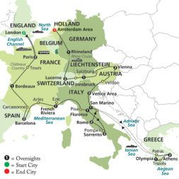 Map Of Germany And Italy With Cities.Countries Visited Austria England France Germany Greece Italy