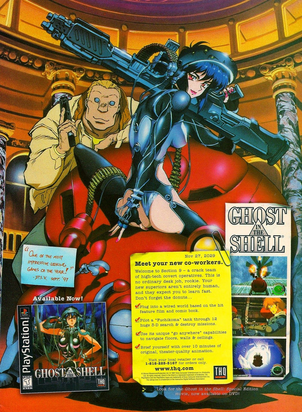 Megalextoria Ghost In The Shell Ps1 Ghost In The Shell Retro Games Poster Retro Gaming Art