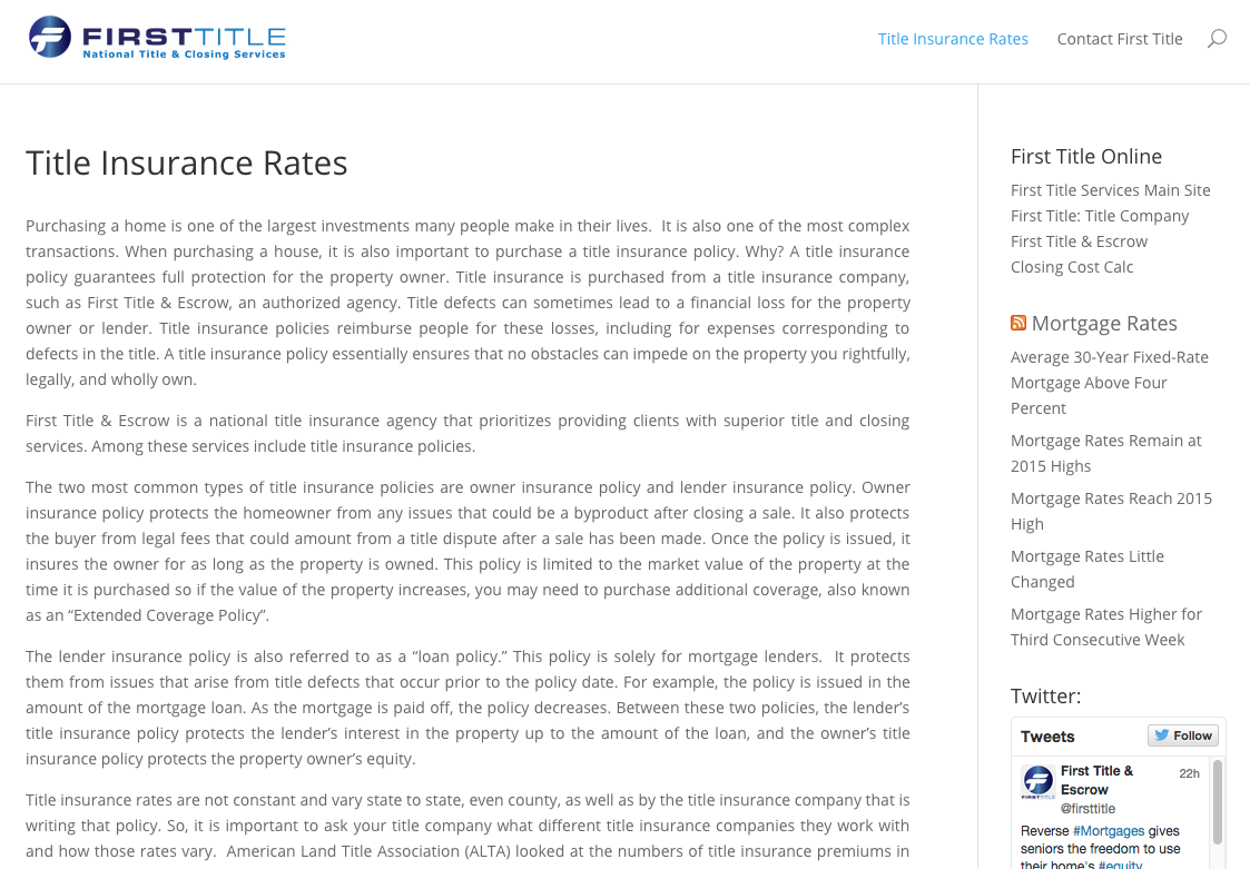 We Recently Started A New Site That Focuses On Title Insurance