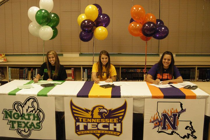 Large Logo On Front Of Table Signing Day Table Ideas Signing Day Ideas College Signing Day