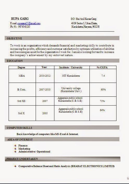 examples of best resumes Sample Template Example - mba resume format