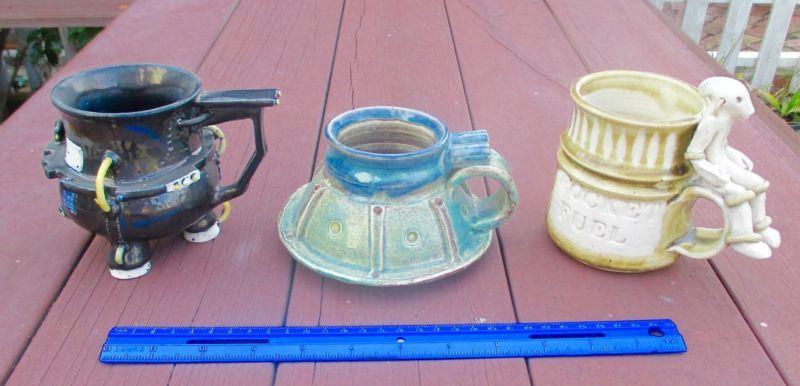 3 UNIQUE STUDIO SPUN POTTERY ART HANDMADE COFFEE MUGS FLYING SAUCER ALIEN SIGNED - http://glass-pottery.goshoppins.com/pottery-china/3-unique-studio-spun-pottery-art-handmade-coffee-mugs-flying-saucer-alien-signed/