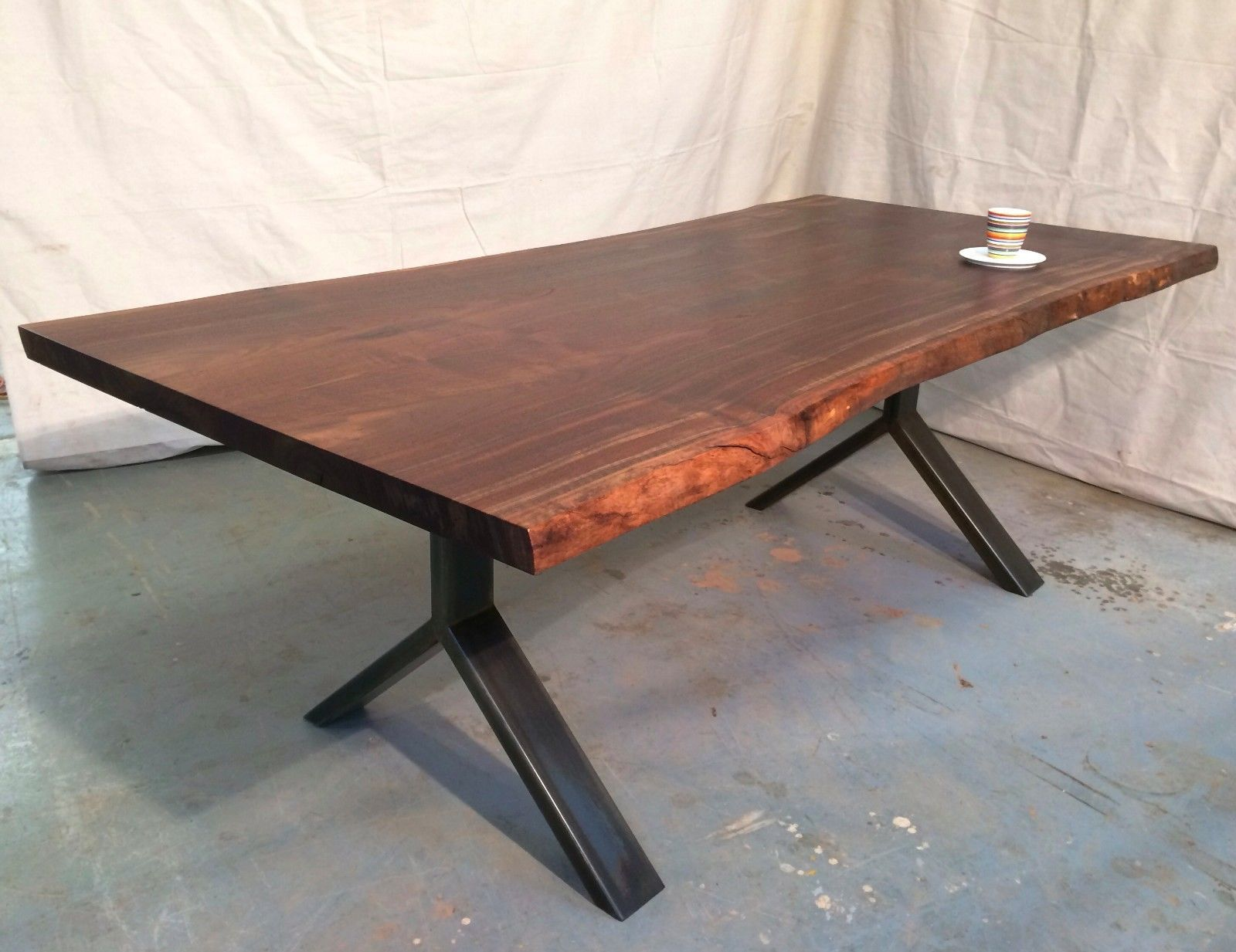 Y Leg Steel Reclaimed Walnut Raw Edge Bookmatched Dining Table Ebay