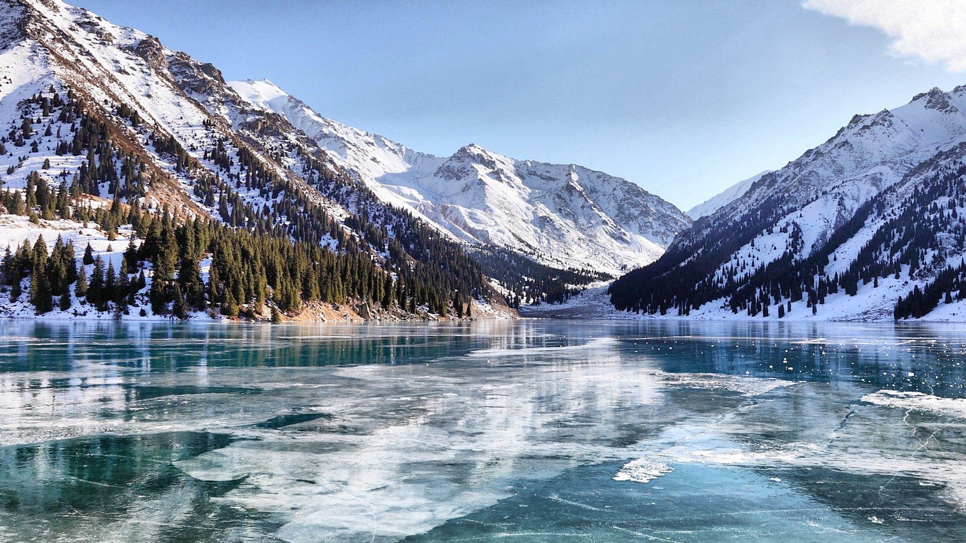 Hd wallpaper lake ice mountains valley