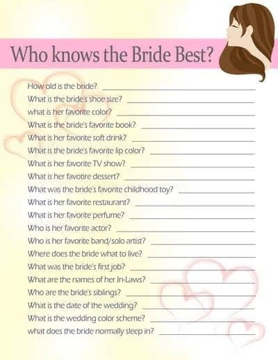bridal shower games 20 questions