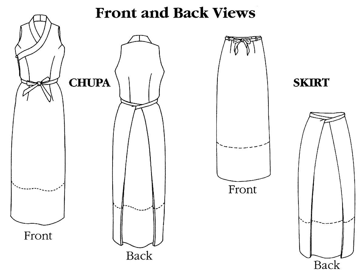 Folkwear Tibetan Chupa / Wrap Jumper & Wrap Skirt Sewing Pattern ...