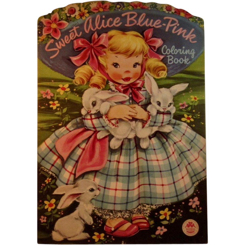 1950s Sweet Alice Blue-Pink Oversized Coloring Book by Merrill ...