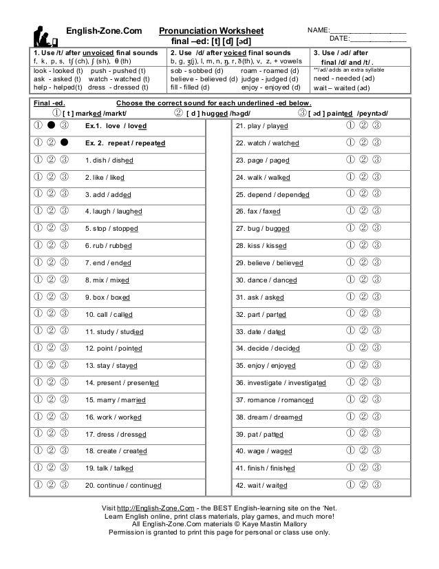 EnglishZoneCom Pronunciation Worksheet NAME – Pronunciation Worksheets