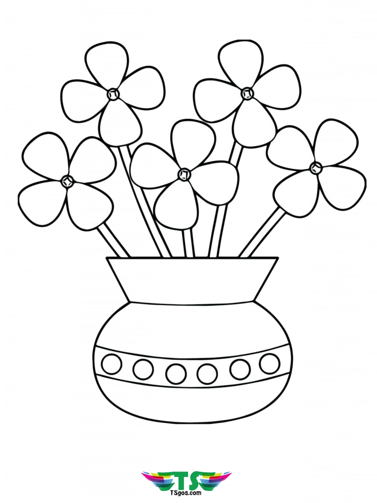 Printable Flowers In A Vase Coloring Page Coloring Pages Flower Printable Free Coloring Pages