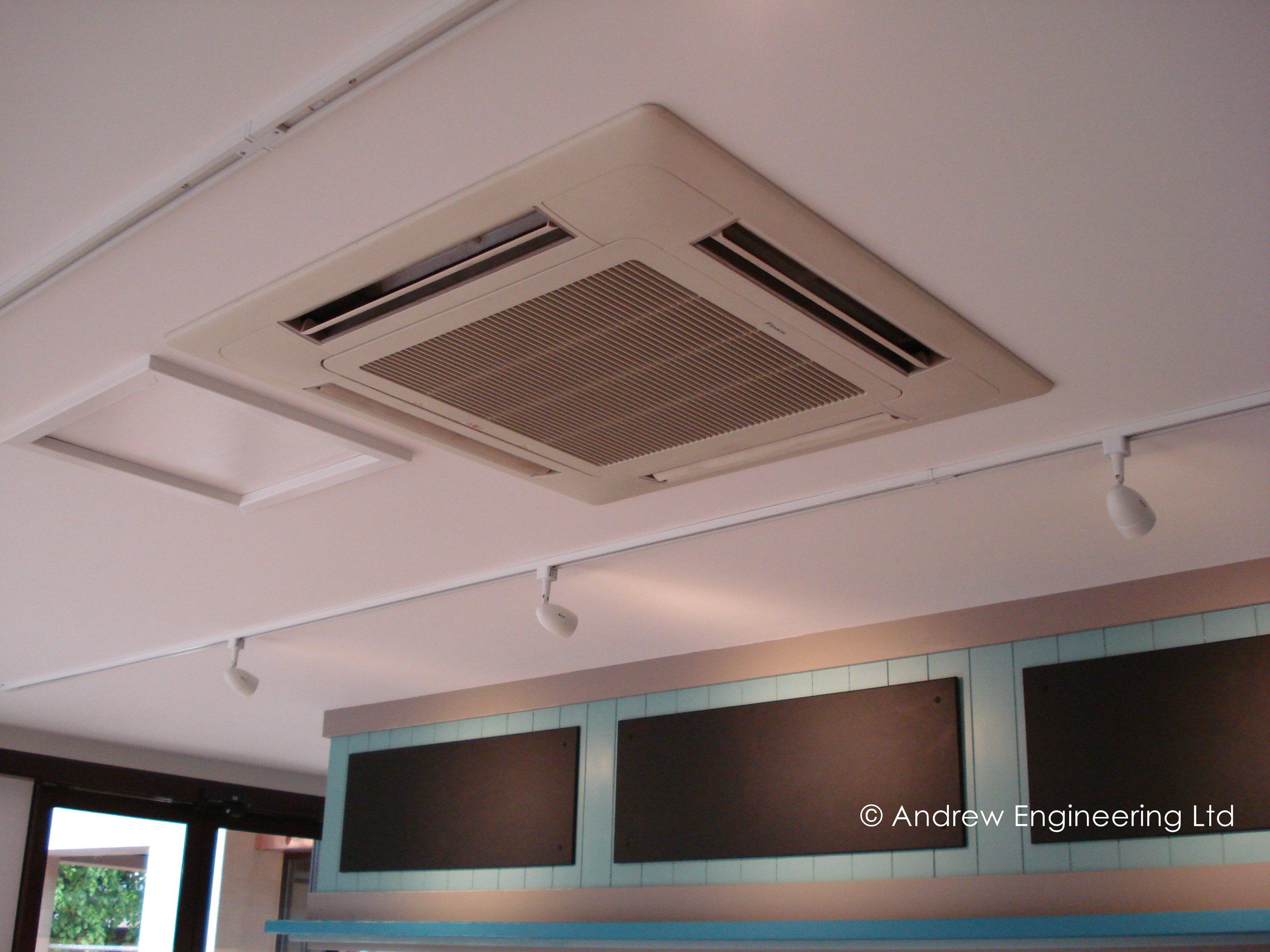 Ceiling cassette air conditioning in a cafe Air