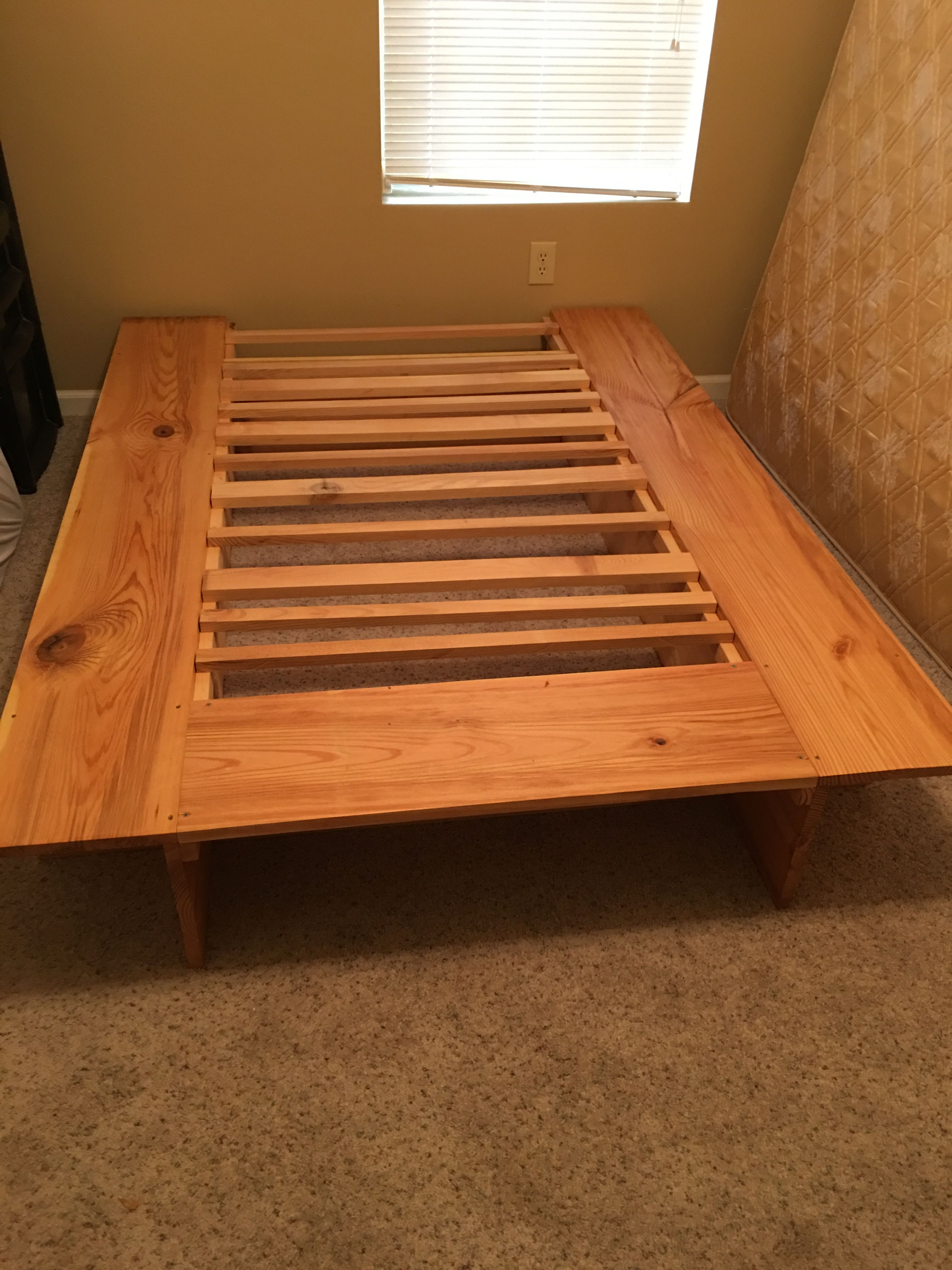 Queen Bed Frame Made From Rough Cut Pine I Got