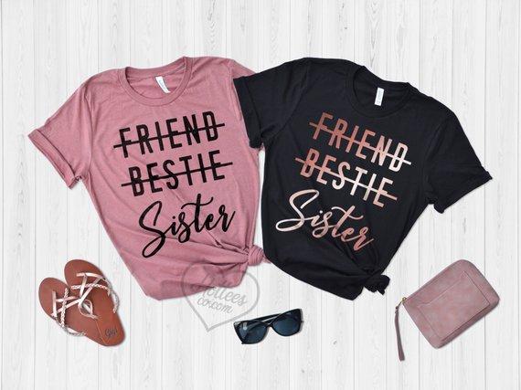 """2x Damen Oversize Crewneck Pullover /""""BFF SISTER/"""" best friends blondie brownie"""