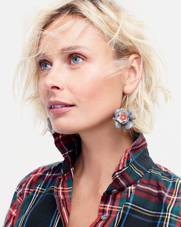 J.Crew women s perfect shirt in Stewart plaid and petal cluster drop  earrings. 304f0ecc4df8