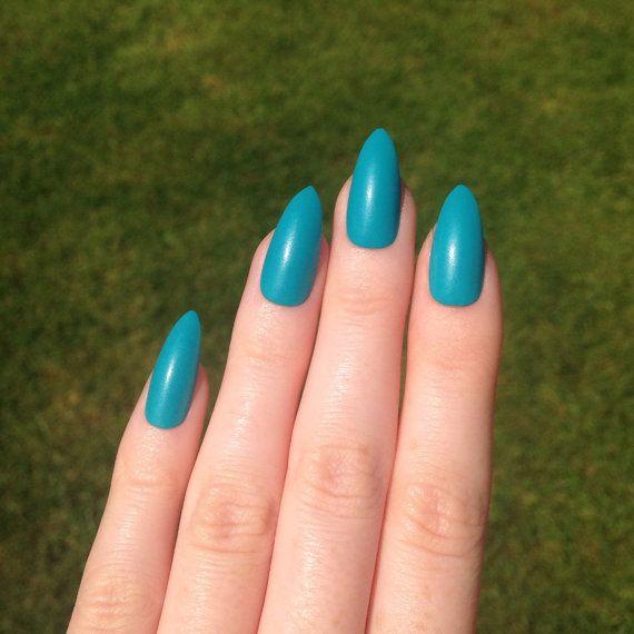 Matte Blue Stiletto nails, Nail designs, Nail art, Nails, Stiletto ...