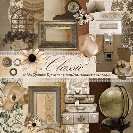 Free Digital Scrapbook Kit Classic Time Travel Vintage