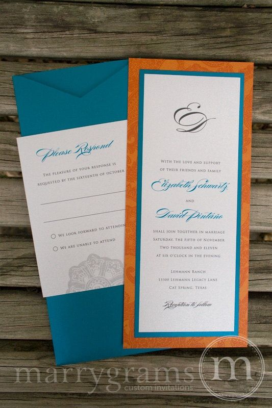 Teal And Orange Wedding Invitation Suite Pocket By Marrygrams