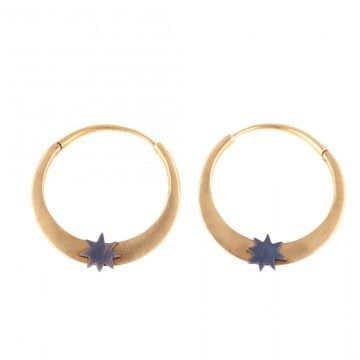 SINGLE STAR HOOPS  BY LORI LEVEN  18K Gold Hoops with Blackened Sterling Silver Stars. Made in New York.    1 3/8 Diameter        $1,785.00