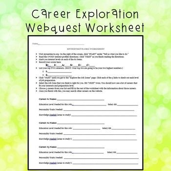 Career Exploration Worksheet | Career Readiness and Exploration ...