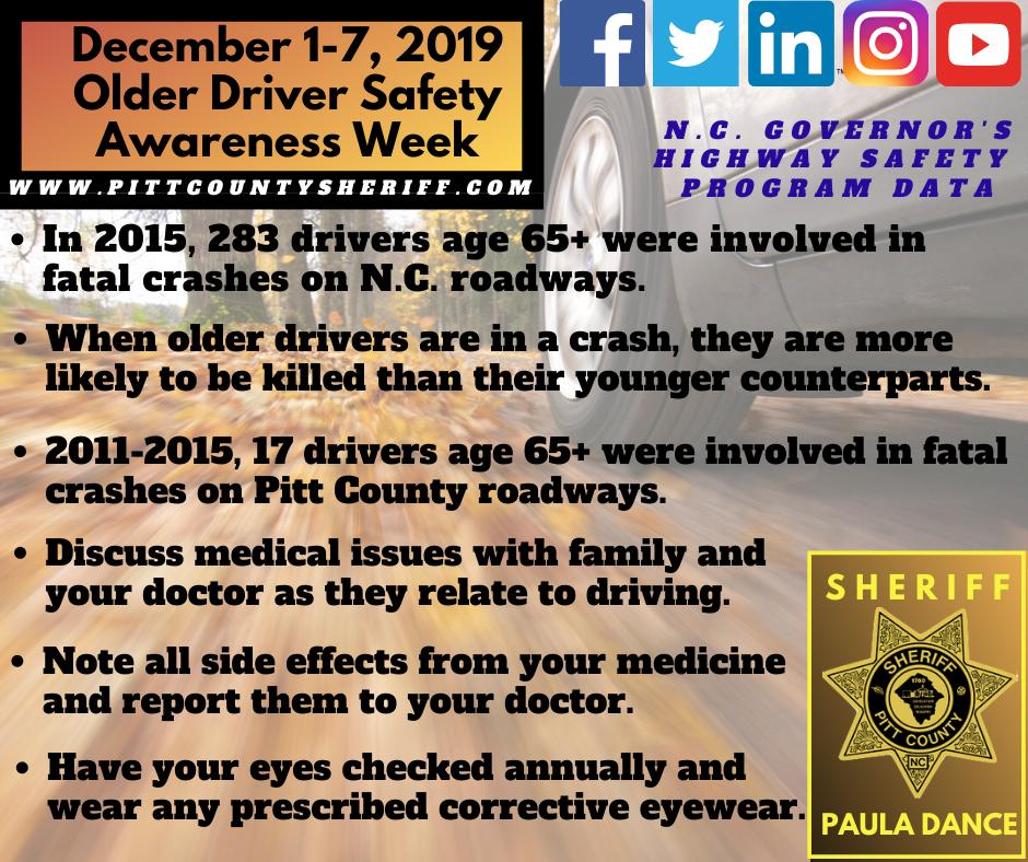 December 17, 2019 is Older Driver Safety Awareness Week