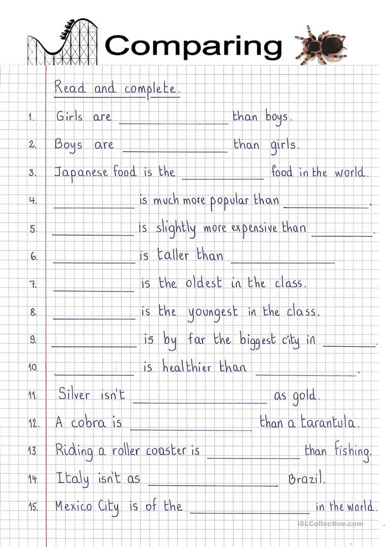 Read And Complete Comparatives And Superlatives English Esl Worksheets Reading Comprehension Worksheets Superlatives Comparative Adjectives [ 1079 x 763 Pixel ]