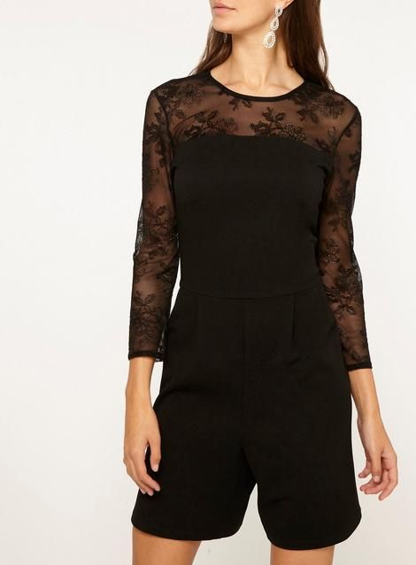 cf39e50155 Womens   Tall Black Mesh Sleeve Playsuit- Black
