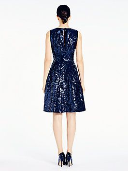 Kate Spade: sequin fit and flare dress, rich navy