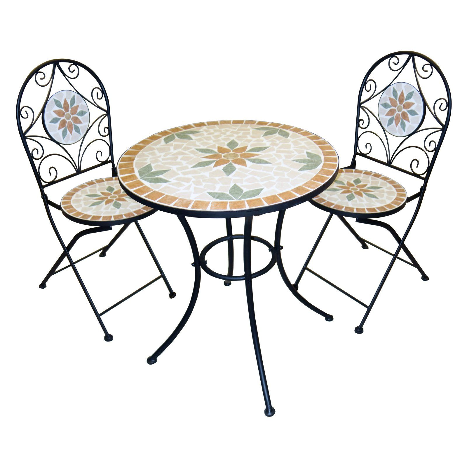 Outdoor Alpine Mosaic Wrought Iron 3 Piece Bistro Set Products