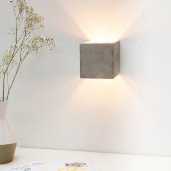 design3000 quadratische wandlampe aus beton mit. Black Bedroom Furniture Sets. Home Design Ideas