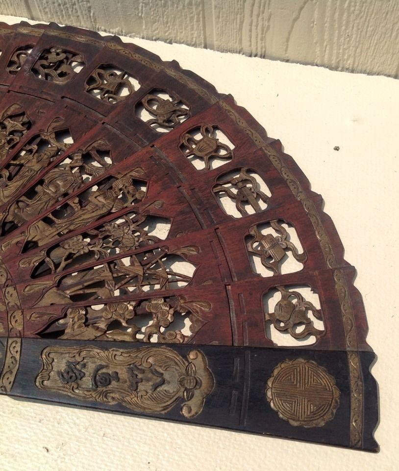 Rare Antique Intricate Hand Carved Chinese Asian Figural Wooden Fan