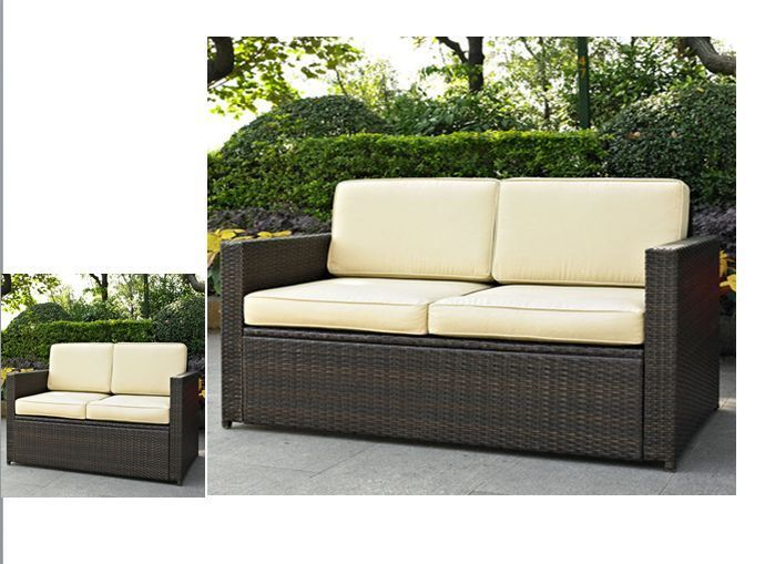 Resin Wicker Loveseat With Cushions Patio Outdoor 2 Seater Poolside Garden